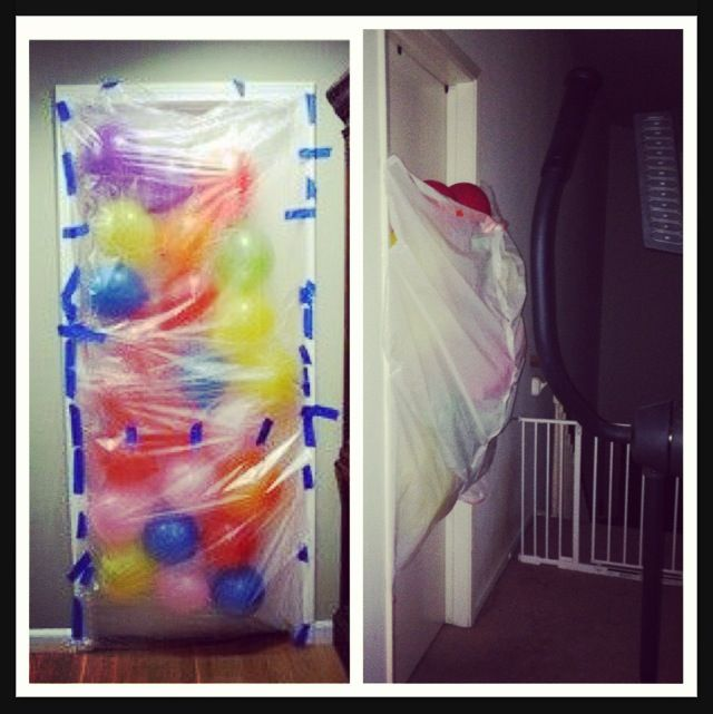 NAILED IT (kinda)  Birthday balloon avalanche for when they wake up and open their door!