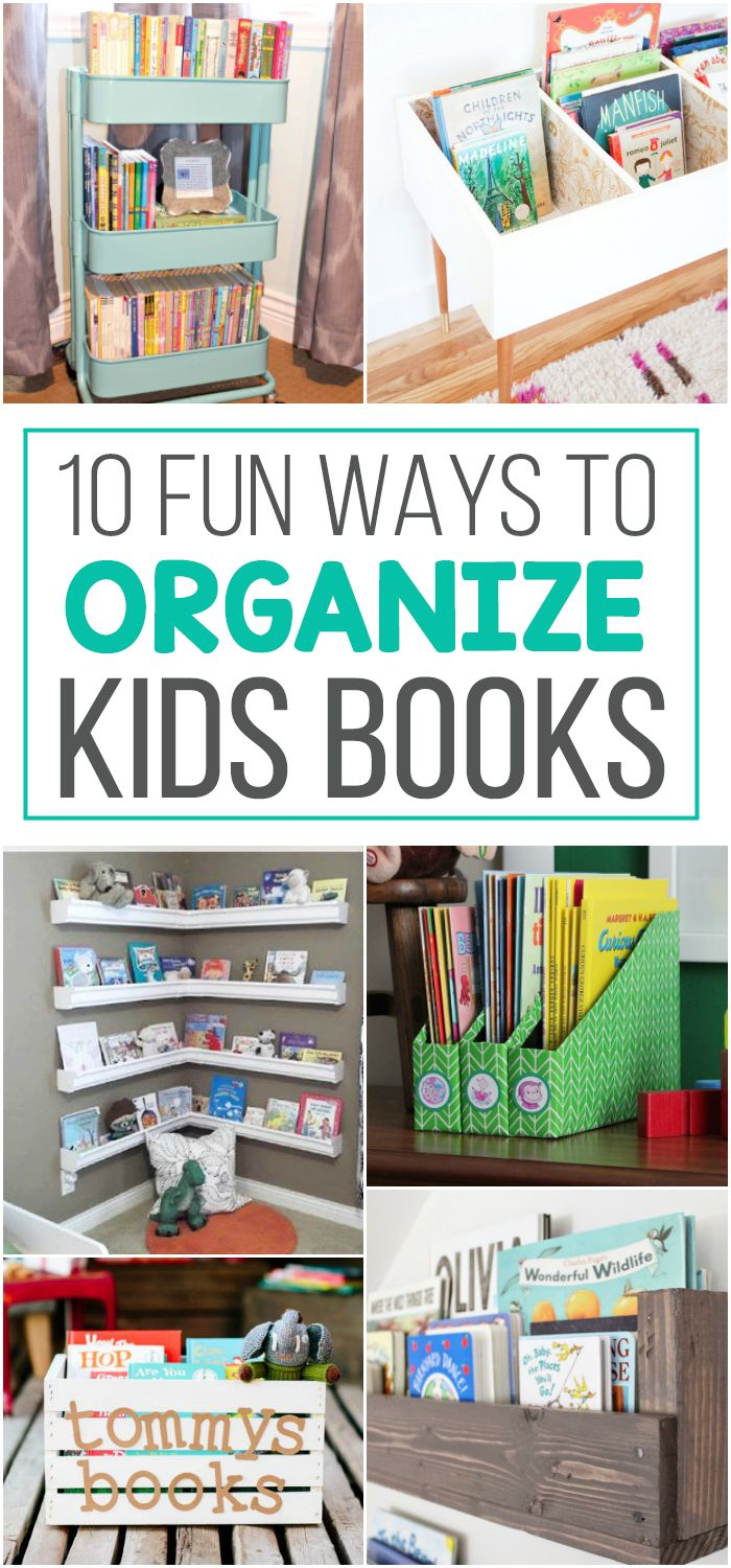 10 Fun Ways To Store Kid Books. Love these awesome organization ideas for all those kids story books. #ad