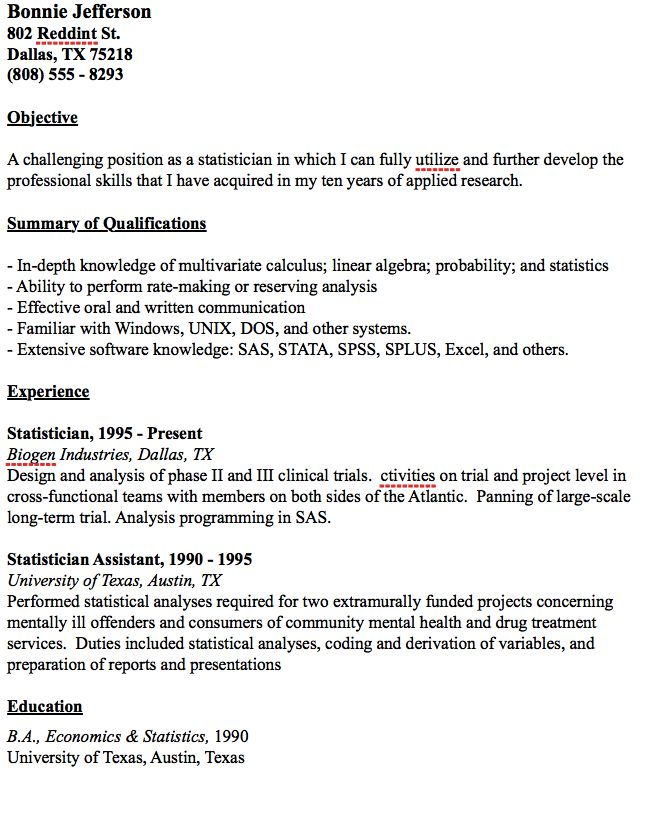 Example Statistician Resume -    resumesdesign example - statistical clerk sample resume