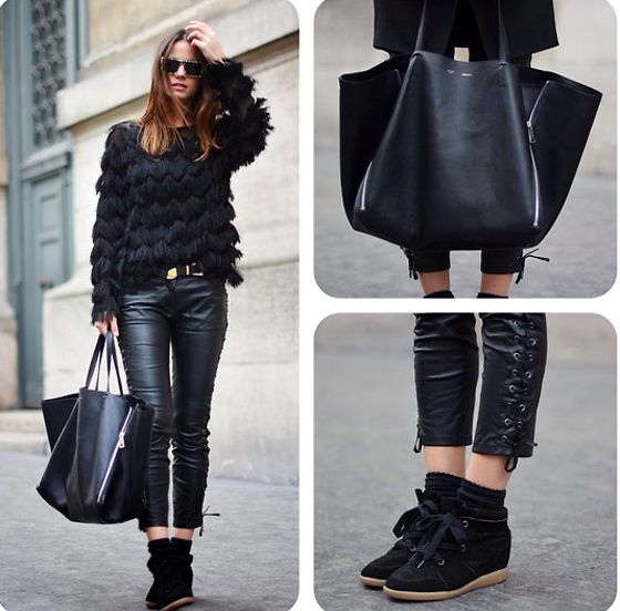 black jeans ruffled top