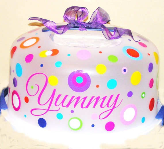 XLarge Polka Dot Customized Cake Carrier or Cake by LaDeDotty, $14.75