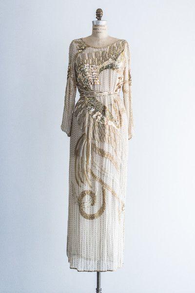 1980's Silk Phoenix Beaded Dress | shopgossamer.com
