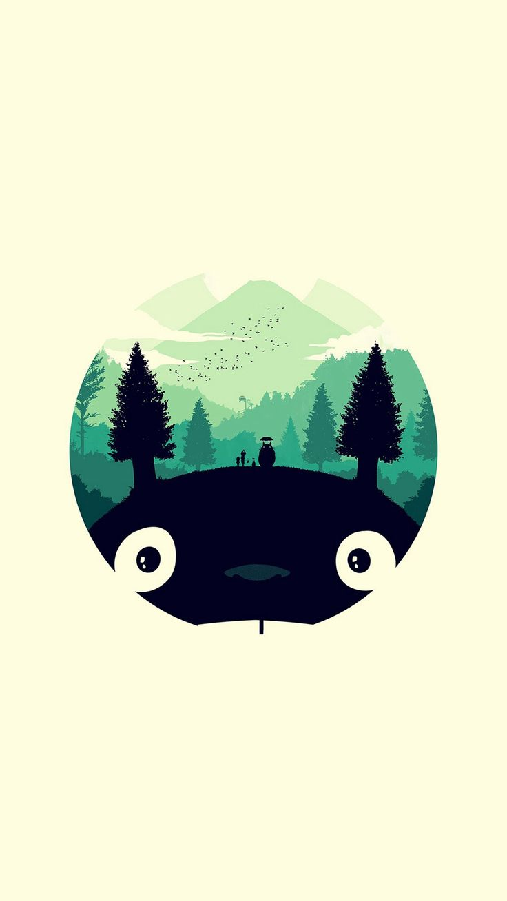 Totoro Art Illust Simple Cute iPhone 6 plus wallpaper