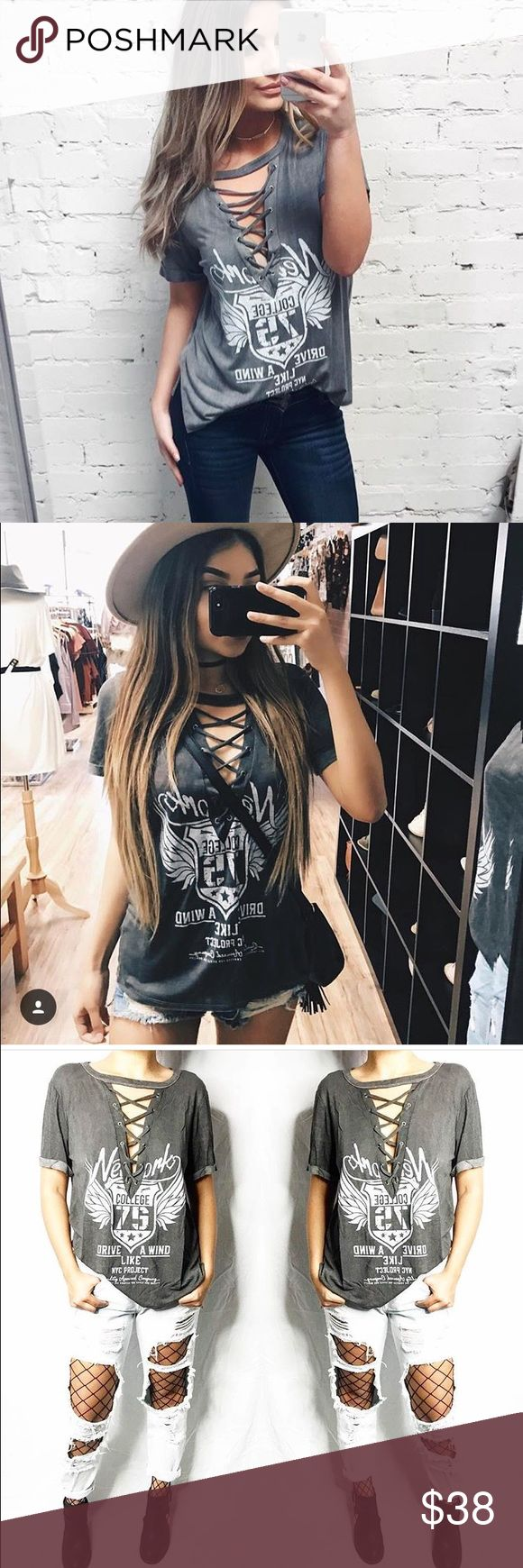nwt lace up graphic tee cut out caged top t shirt boutique