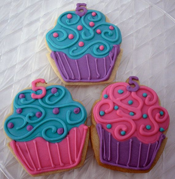 Cupcake Birthday Cookies Party Favors Girly by charmingtreats4you, $ 32/12