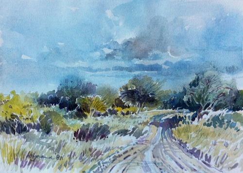 Wynand Smit Snr Artist / Architect - watercolour of bushveld 1987