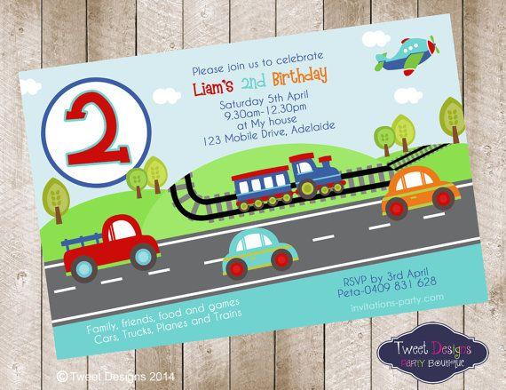 Cars Planes and Trains Printable Birthday Invitation