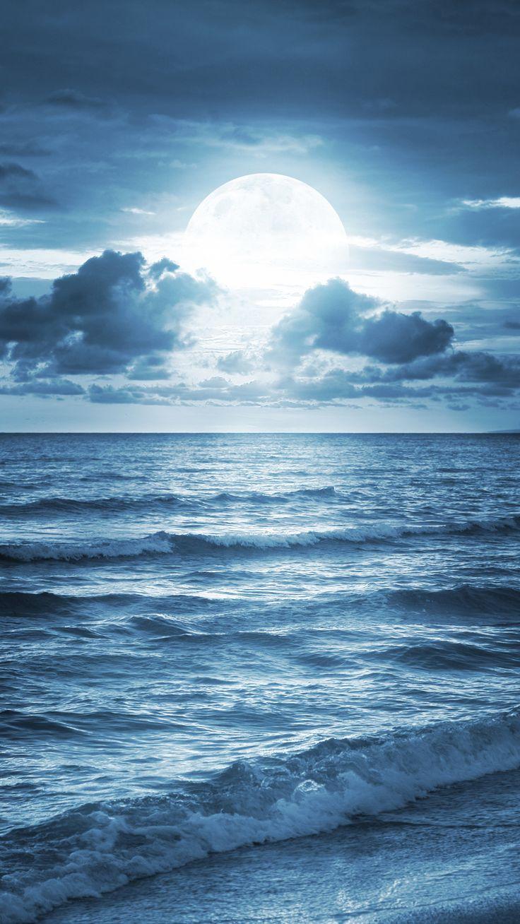Wallpaper iphone moon - Blue Ocean Beach At Dusk Iphone 6 Plus Wallpaper