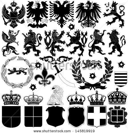 Vector of heraldry design elements on white background - stock vector