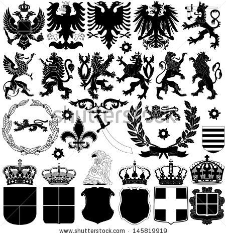 Vector of heraldry design elements on white background - stock vector