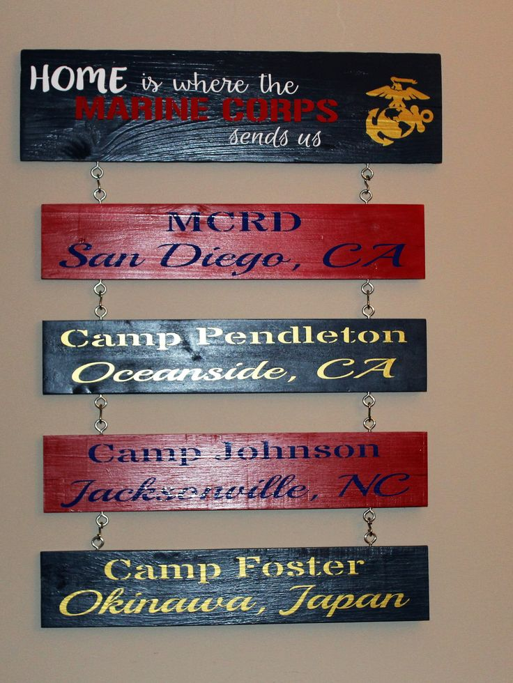 Official hobbyist of the USMC license 11603 Home is where the Marine Corps sends us wood wall hanging. The top bar measures approx. 22 inches length and 5 inches wide. Each additional bar measures app