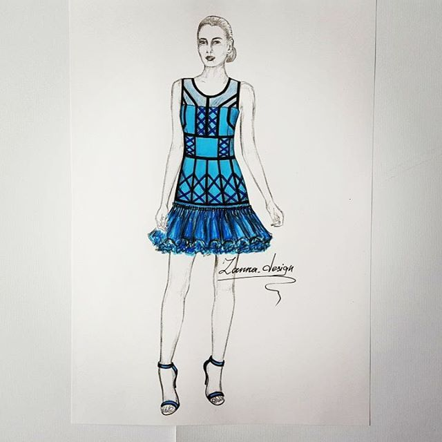 I love to party,  everybody does.... remember that song ;) so here is a short party dress in hues of blue and turquoise, with a mesh panel insert on the upper top. Satin black stripes, dark navy satin crosses. The lower bottom of the dress with several voile layers to create volume and accentuate the glamour vibes of the dress. ♡♡♡♡ #fashionsketches #partydress #bluedress #fashionlooks