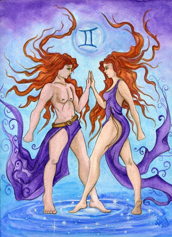 Watercolor - Star Sign - Gemini - Print from Original Paintings - Zodiac Series