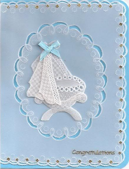 3D Parchment lace card.Crib pattern from June Owen