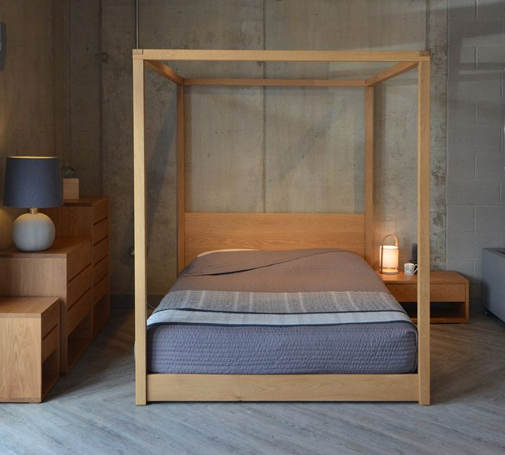Oak 4 Poster Bed Part - 33: Solid Oak Four-poster Bed From Natural Bed Company - The Cube Bed