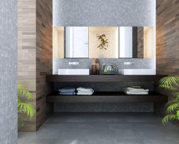 salle de bains contempoiraine, double vasque et espace de rangement sous vasque