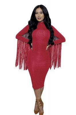 Claret Tassel Long Sleeve Bodycon Dress Cheap Party Midi Dresses