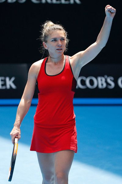 Simona Halep Photos - Simona Halep of Romania celebrates winning her third round match against Lauren Davis of the United States on day six of the 2018 Australian Open at Melbourne Park on January 20, 2018 in Melbourne, Australia. - 2018 Australian Open - Day 6