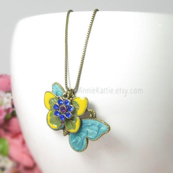 Butterfly necklace Blue yellow necklace Flower by AnnieKattie