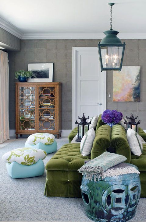 Love purple and green with a hint of turqouiseDecor, Tilton Fenwick, Colors Combos, Livingroom, Interiors Design, Living Room, Colors Schemes, Green Sofas, Gray Wall