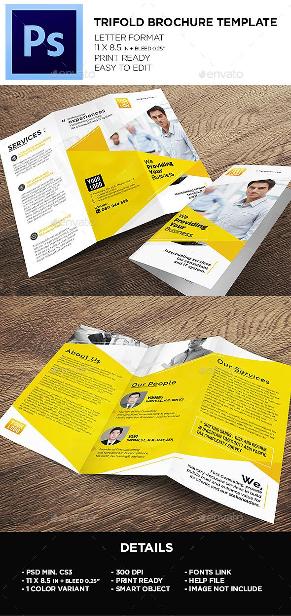 trifold brochure template photoshop psd a4 clean available