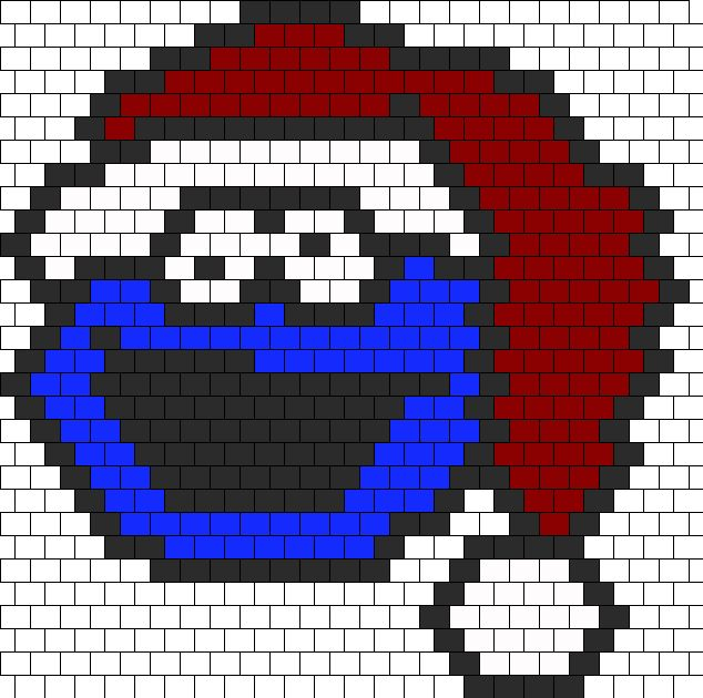 Cookie Monster In A Santa Hat bead pattern
