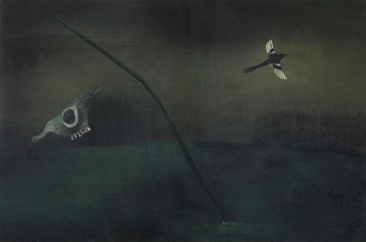 Tinus van Doorn Schedel met vogel