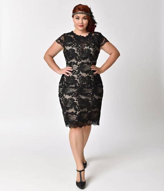 Plus Size Vintage Style Black & Nude Floral Lace Cap Sleeve Wiggle Dress