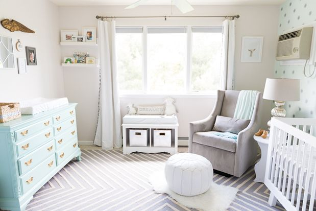 Love this aqua and grey classic nursery with baby animal art.  Heavenly Nursery