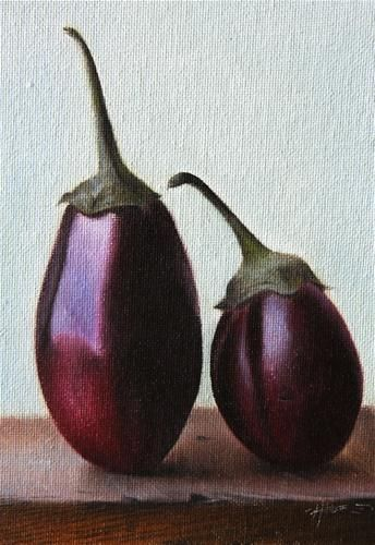 """Baby Eggplants"" - Original Fine Art for Sale - © Jonathan Aller"