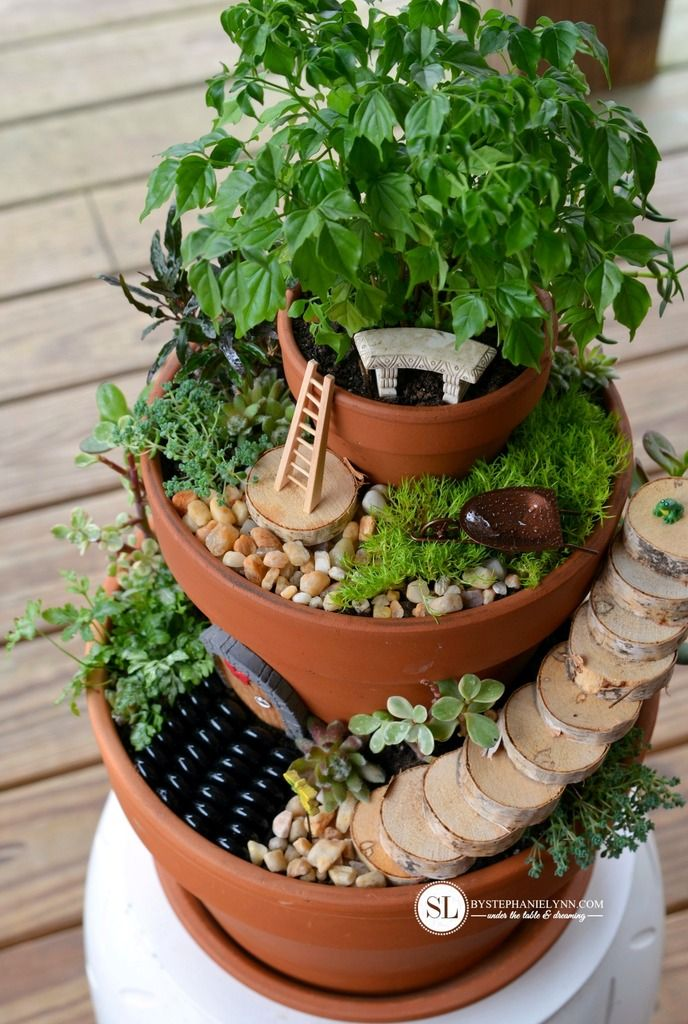 How to make Flower Pot Fairy Gardens #michaelsmakers   Want to make this with herbs for my kitchen