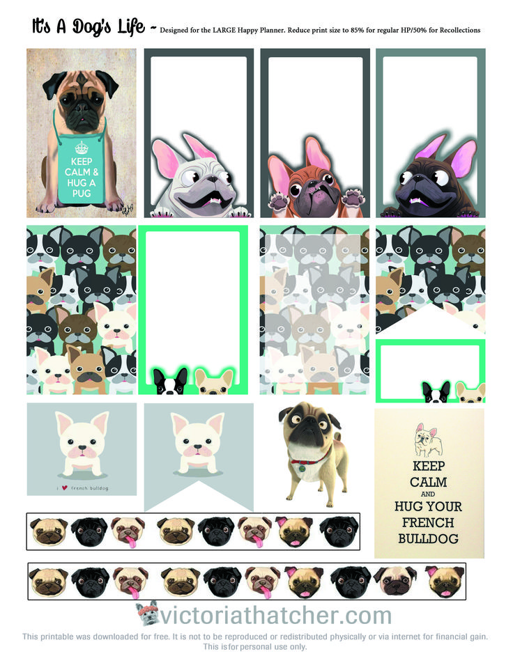 FREE Its A Dog's Life Planner Stickers by Victoria Thatcher