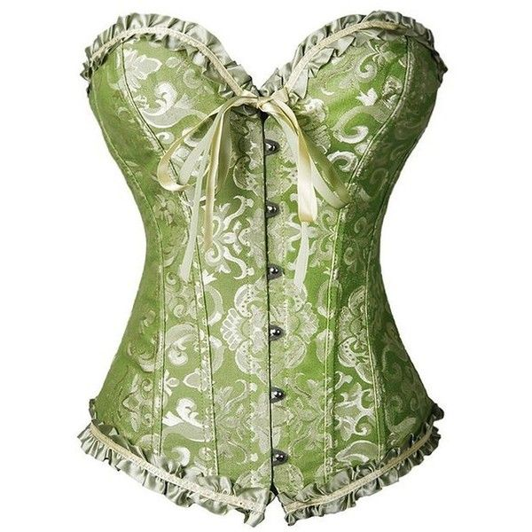 Kiwi-Rata Women's Plus Size Floral Trim Lace Up Boned Overbust Corset... ($15) ❤ liked on Polyvore featuring intimates, corset bustier, lace up waist cincher corset, plus size bustier corset, plus size corsets and front lace corset