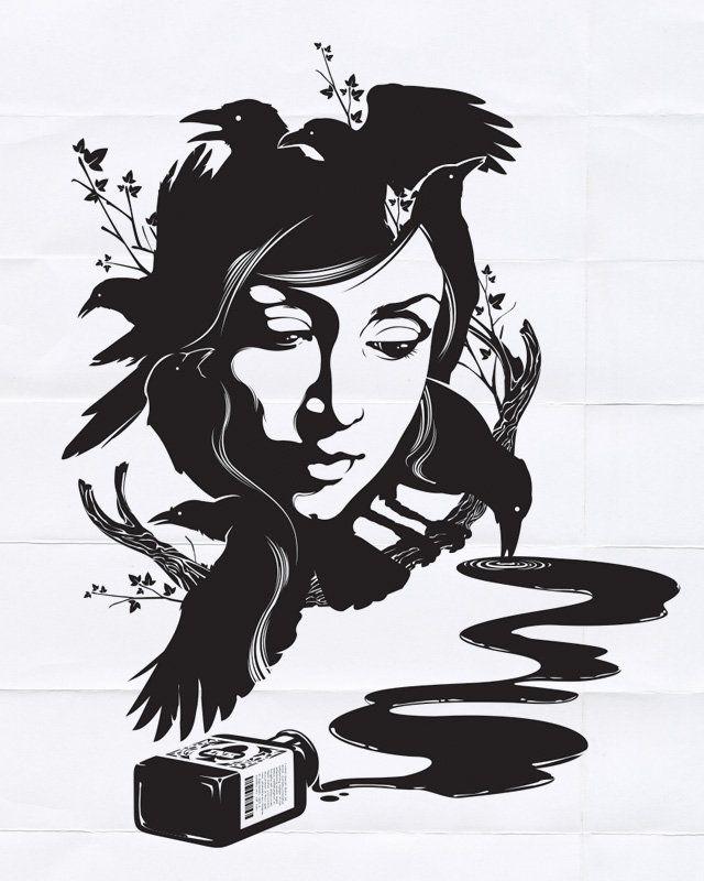 Схема вышивки «Девушка ворон»