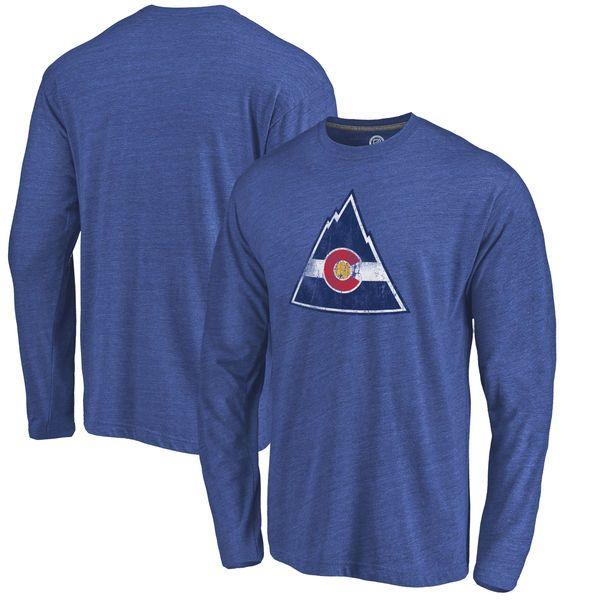 CO Rockies Throwback Logo 1976-1977 Tri-Blend Long Sleeve T-Shirt - Royal - $34.99