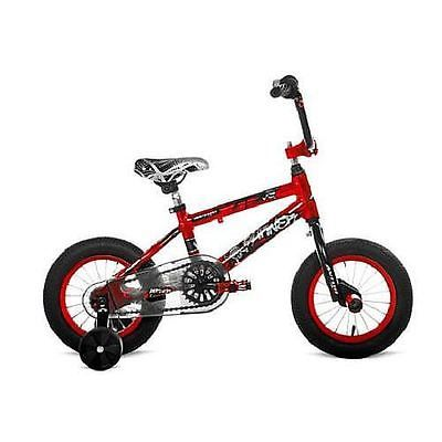 """With the Avigo 14"""" Boys' Burner Bike, your child can have rugged outdoor fun while staying safe. This little bike is built around a durable, lightweight aluminum frame with a BMX-style fork. Its four-bolt handlebar stem adds further sturdiness, and its adjustable training wheels help to provide added balance as needed. #bike #bicycle"""