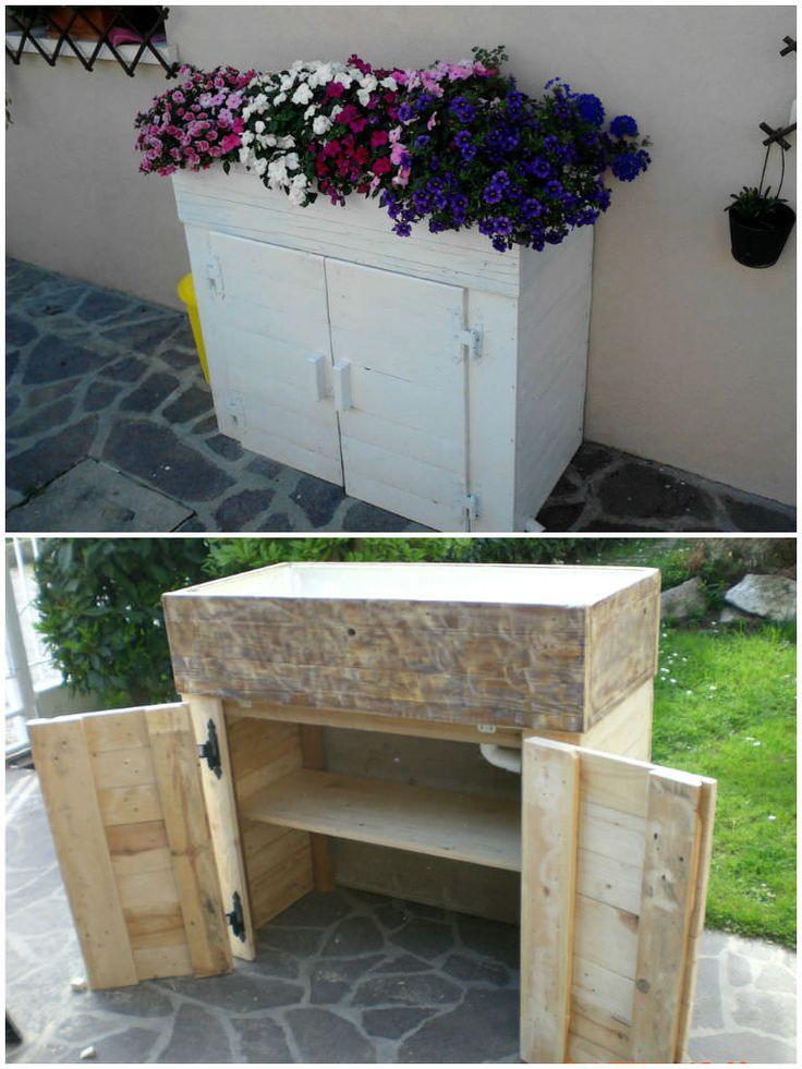 Fioriera porta attrezzi / Pallet planter toolbox #Garden, #Pallet, #PalletPlanter, #UpcycledPallet