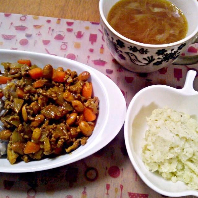 節分のお豆とか干し椎茸とかほりこみカレー - 12件のもぐもぐ - 2月16日 豆カレー ポテトサラダ 玉ねぎスープ by sakuraimoko