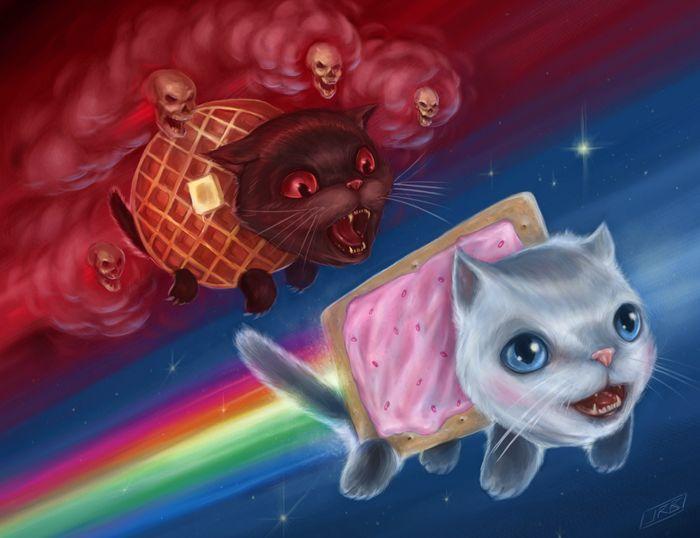 Nyan Cat vs Tac Nayn: Tac Nayn, Cat Art, Grey Cat, The Artists, Art Prints, Pop Tarts, Nyan Cat, Black Cat, Outer Spaces