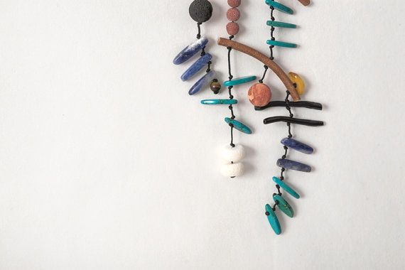 "Long Necklace, Multicolor Gemstones,from the ""mobile"" series"