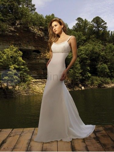 A-line Chiffon Ruched Bodice scoop Neckline Sweep Train Wedding Dresses