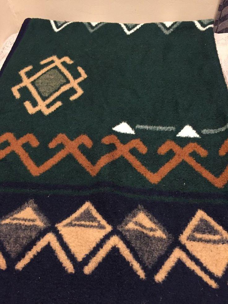 Biederlack Southwestern green beige Navajo Aztec Blanket Wrap   Collectibles, Linens & Textiles (1930-Now), Bed & Bath Linens   eBay!
