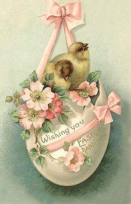 Free freebie printable vintage easter postcard egg, chicks
