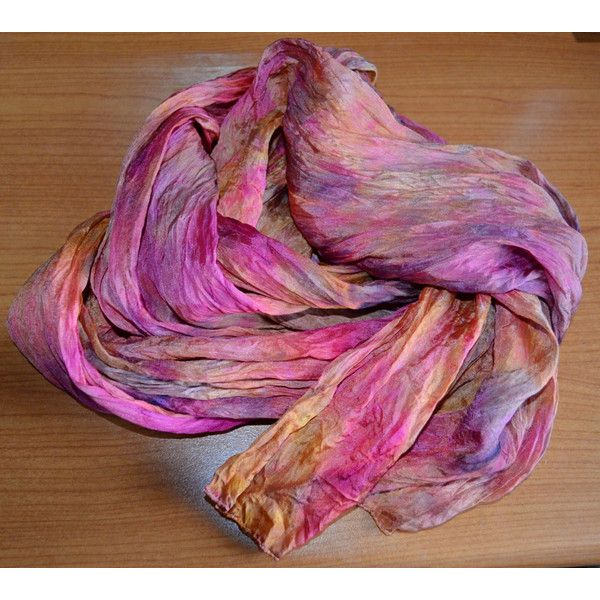 Silk scarf ruffled Hand Dyed, hand painted scarf, Shibori dyesScarf... via Polyvore featuring accessories, scarves, silk shawl, shibori scarves, silk scarves, pure silk scarves and frilly scarves