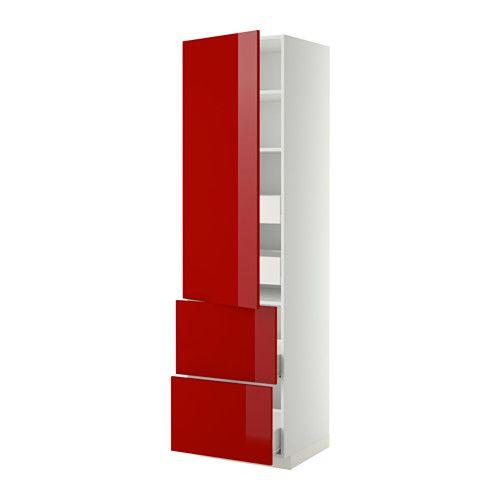 METOD Hi cab w shlvs/4 drawers/dr/2 frnts - white, Ringhult high-gloss red, 60x60x220 cm, Fö - IKEA