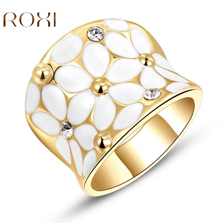 2017 ROXI Charms White Crystal Flower Rings For Women Rose Gold color Girls Wedding Jewelry Choker Romantic Mother's Gift top-in Rings from Jewelry & Accessories on Aliexpress.com   Alibaba Group