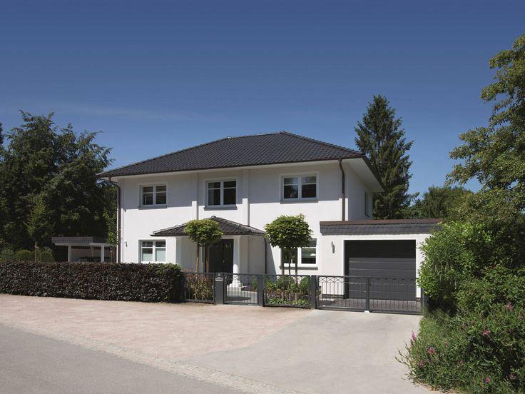 Stadtvilla Edition 470 U2022 Bausatzhaus Von Viebrockhaus U2022 Massive Villa Mit  überdachtem Eingang, Walmdacherker Und