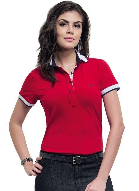 camisa polo feminina principessa wendy vermelha