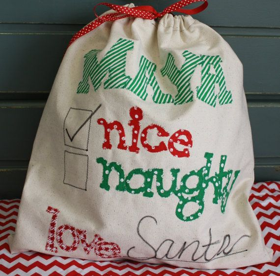 Personalized Canvas Santa Bag/Sack/Stocking by makmaydesigns