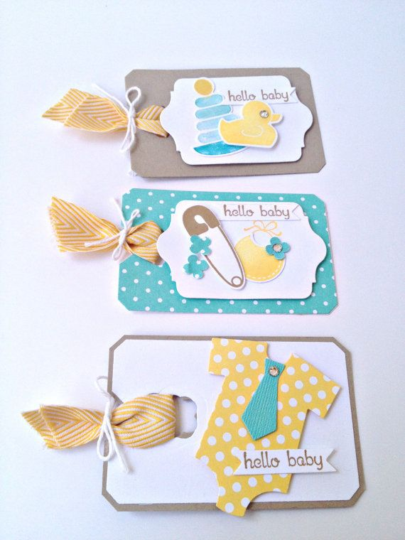 Hello Baby// Set of 3 Gift Tags // Turquoise by StampsPaperandInk, $6.00
